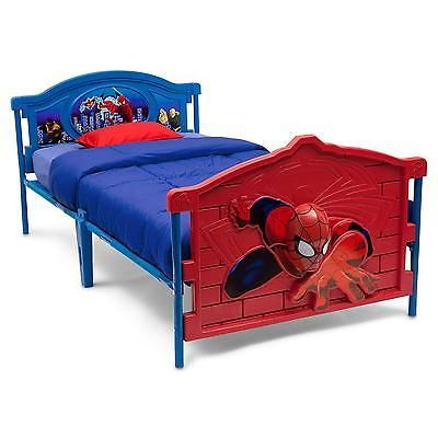 Kids Twin Bed 3D Footboard Spiderman Bedroom Furniture Boys Unique Spiderman Bedroom Furniture Design Ideas