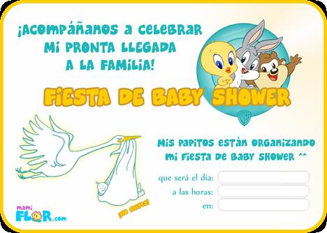 Baby Shower Bebe Looney Toons Invitaciones De Baby