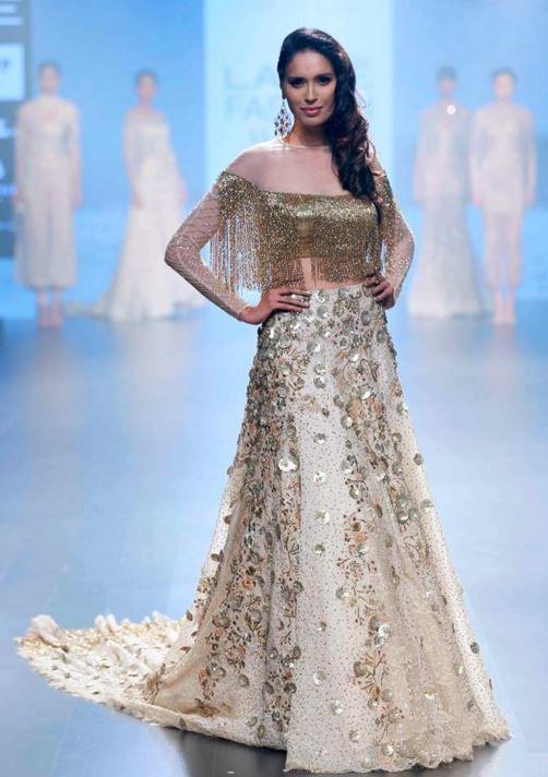 Latest Top Blouse Designs For Lehenga Choli Indian Bridal Dress Lakme Fashion Week 2017 Indian Wedding Outfits