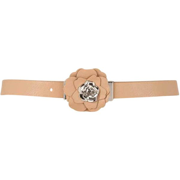 Beige Tan Thin Belt With Rosette Petal Buckle ($12) ❤ liked on Polyvore featuring accessories, belts, beige, corset, wide belt, thin belt, beige belt, buckle belt and rose belt