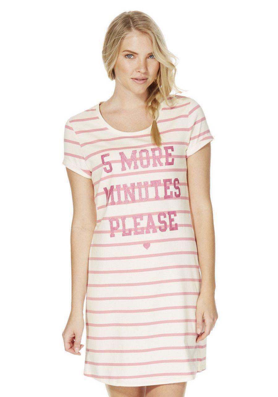 9c3cfc76597 Clothing at Tesco | F&F Striped Slogan Sleep T-Shirt > nightwear > Women's  nightwear > Women