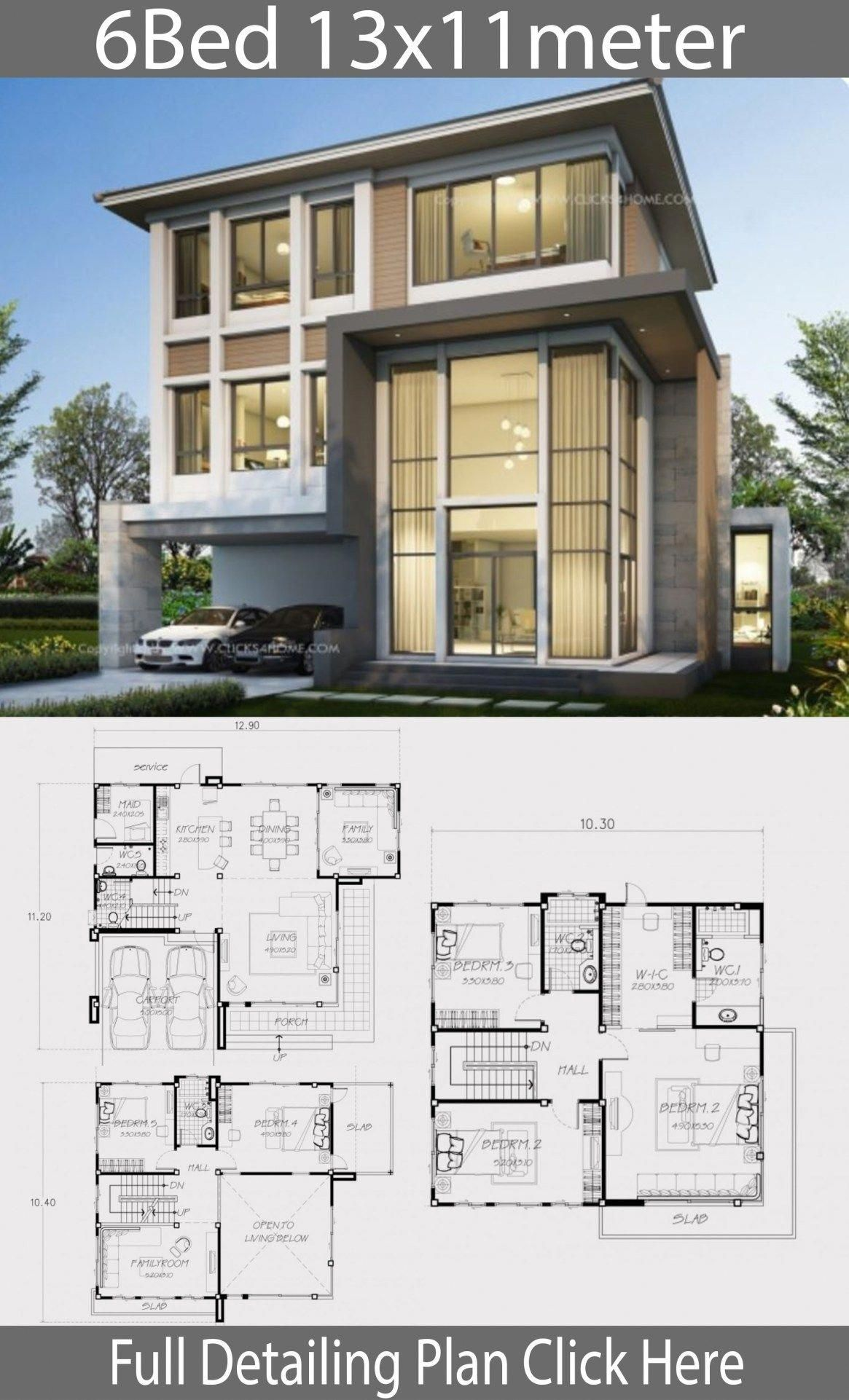 Home Design Plan 13x11m With 6 Bedrooms Home Design With Plansearch Tophomeinteriors Modern House Plans Home Design Plan Luxury House Plans