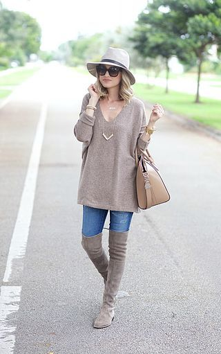 Oversized Sweater and Over the Knee Boots...