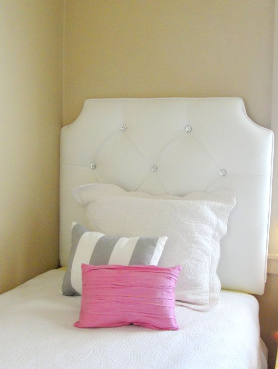 Ready To Ship Tufted Upholstered Headboard Wall Mounted Twin Size White Velvet Crystal Ons By Thetuftedfrog 220 00