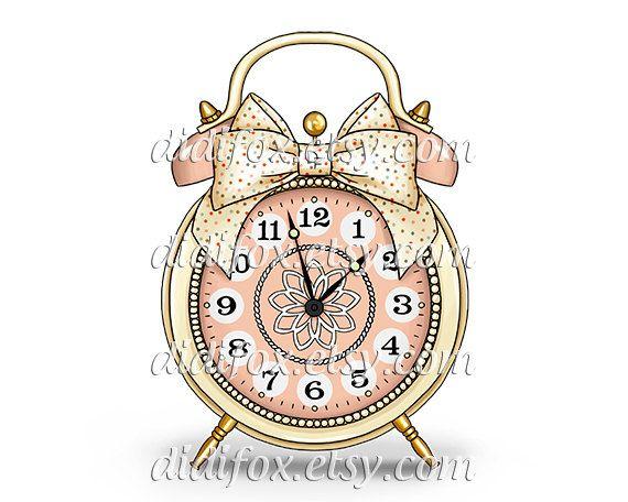 Retro Alarm Clock Bell Polka Dot Cream Bow Digital Print