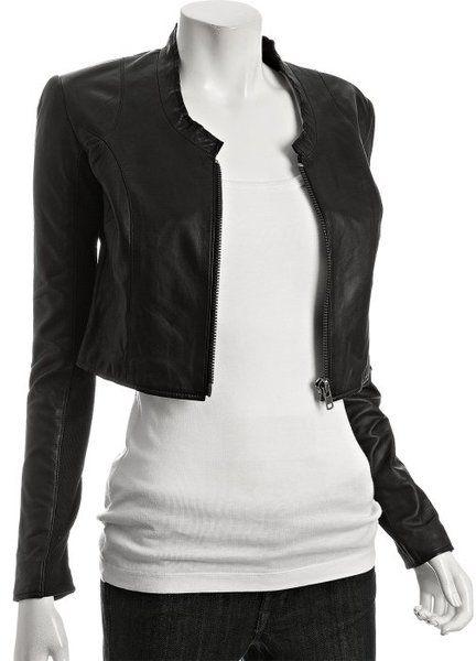 df051fcf Veda Black Leather Alex Collarless Cropped Jacket in Black | Lyst ...