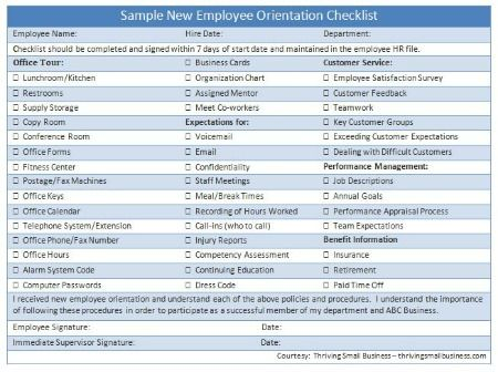 Sample New Employee Orientation Checklist  The Thriving Small