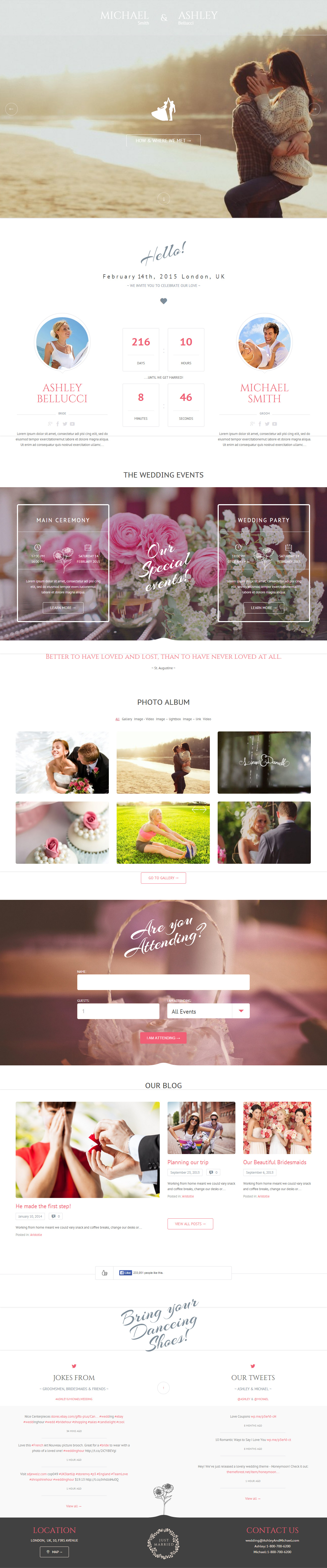Honeymonn is Premium Responsive Retina Parallax WordPress Wedding ...
