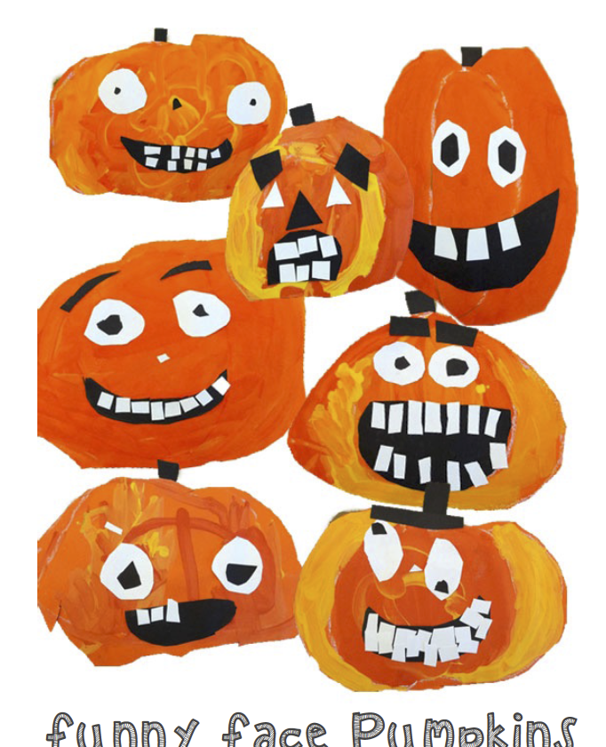 Funny Face Pumpkin Craft Pumpkin Art Project Kindergarten Art Projects Kindergarten Art