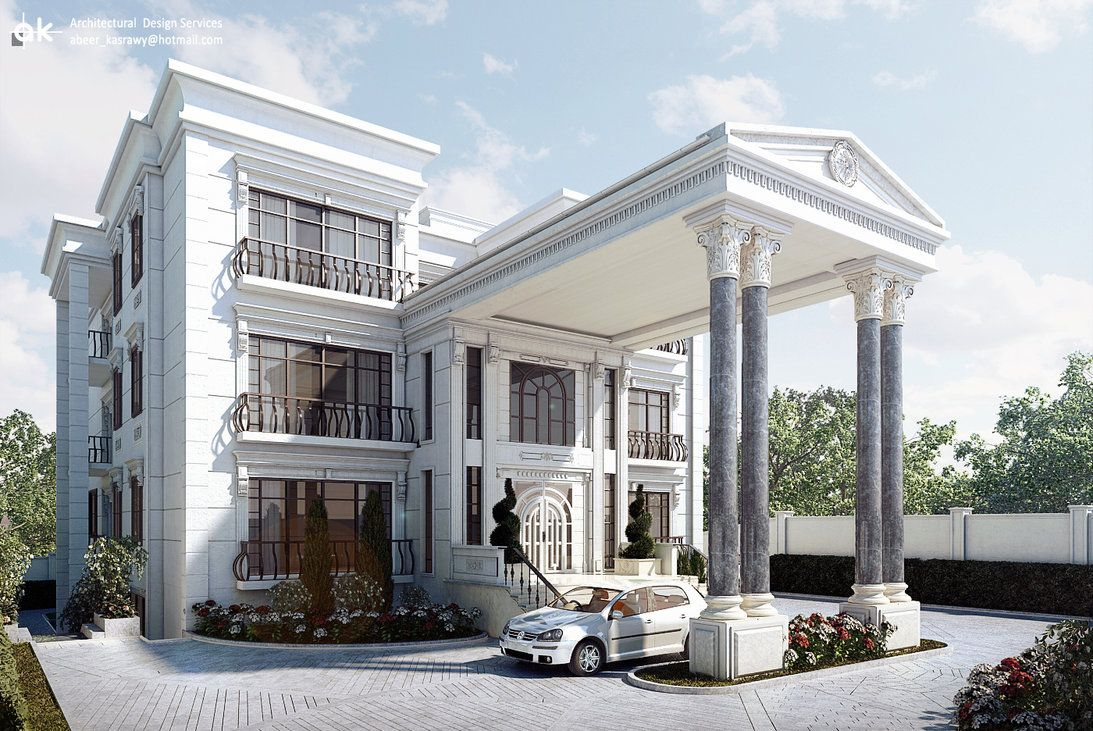 Exterior design client mr brook country ethiopia for Modern roman villa house plans