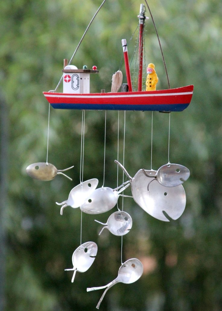 Silverware Fish Wind Chime With Wooden Boat Wind Chimes Diy Wind Chimes Antique Spoons