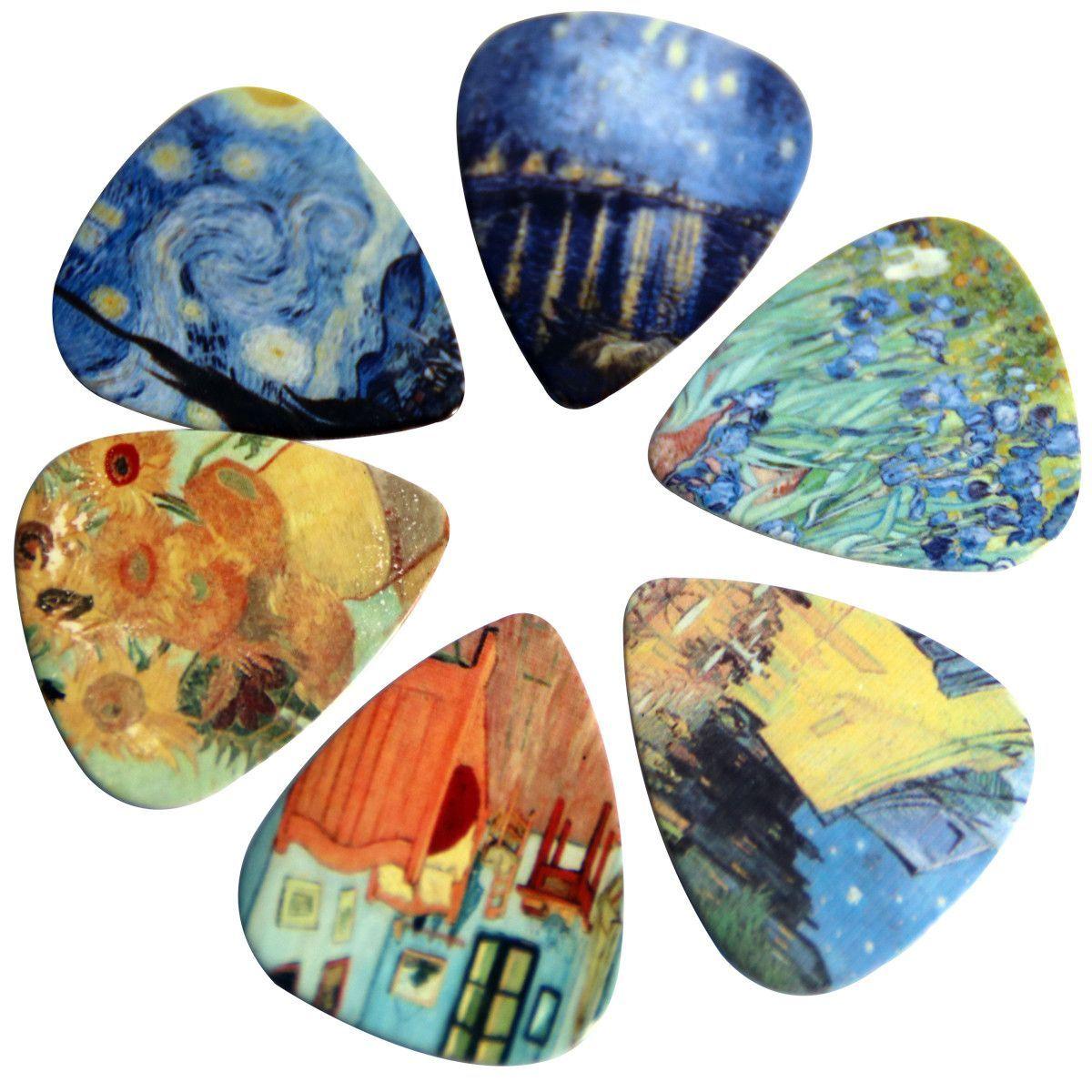 Celluloid Guitar Picks Picks Pack Of 12 Medium Plectrum Vincent Van Gogh