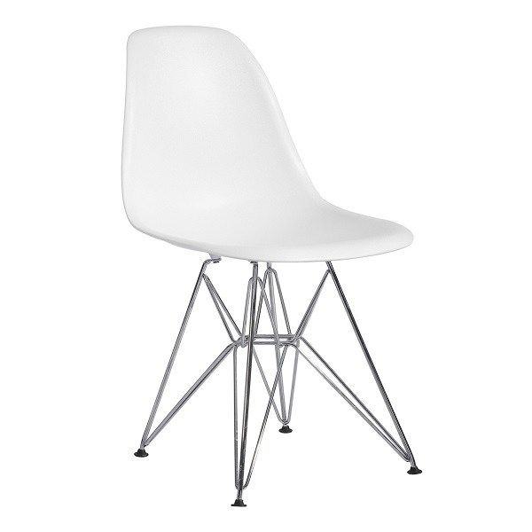 Eiffel Dining Chair White With Chrome Base Eiffel Dining Chair