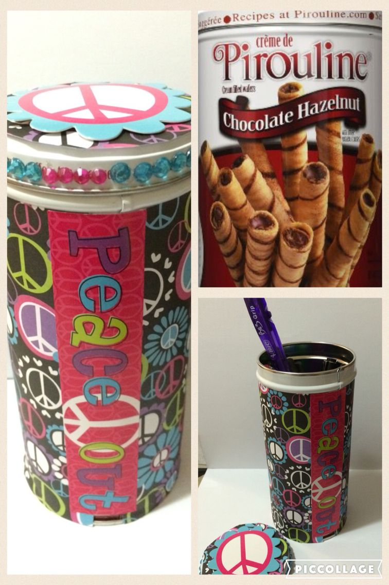 Recycle Your Pirouline Candy Jar Into A Pretty Pen Holder Using