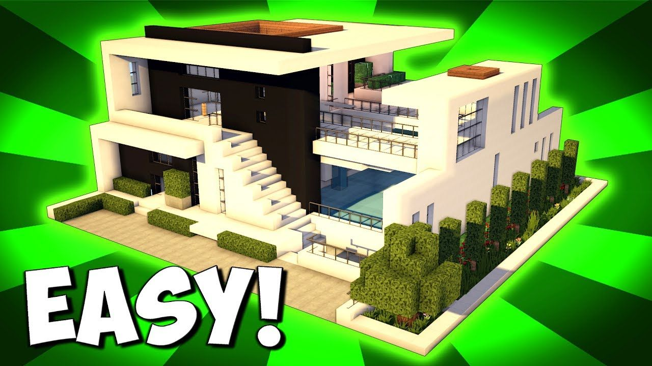 Minecraft How To Build A Large Modern House Tutorial 2017 Minecraft Modern Minecraft House Designs Modern Minecraft Houses