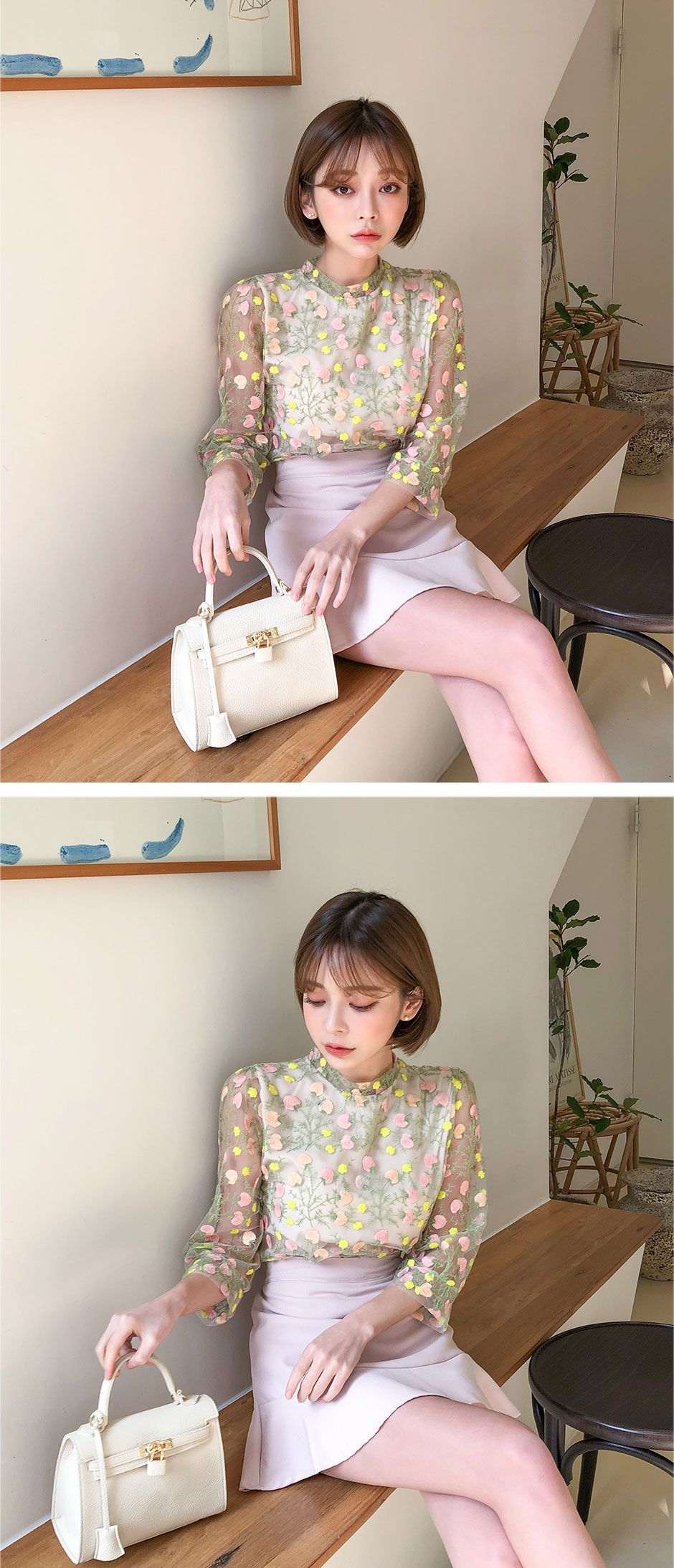[STHSWEET] CHUU Flower Embroidery Spring Blouse | Spring blouses. Chuu clothing. Ulzzang fashion