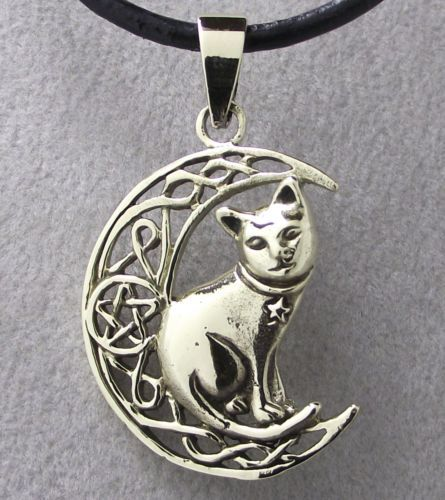 Bronze CAT & MOON Pendant with Black Leather Cord Necklace NEW Celtic Pentagram