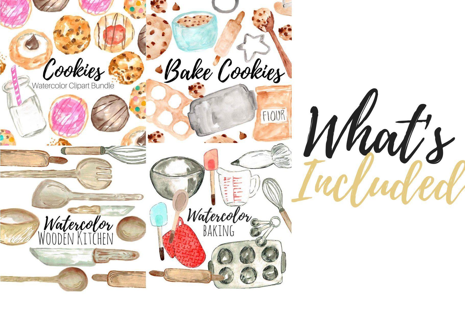 31 Watercolor Cookie Baking Clipart Watercolor Cookies Clip Art