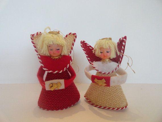 Vintage 2 Burlap Angel Christmas Ornaments