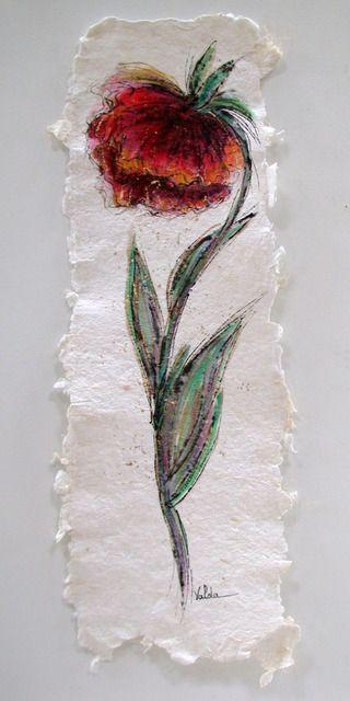 Rote Mohnblume Auf Buttenpapier 2015 Valda Fitzpatrick Olgemalde Flower Drawing Flower Painting Poppy Flower