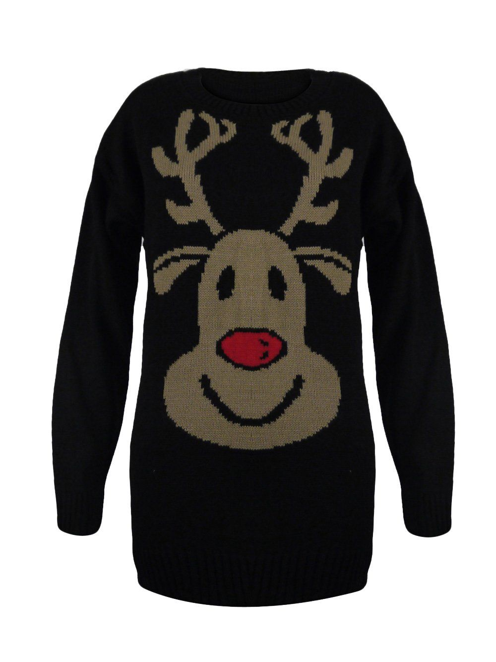 Karmaclothing black rudolph the red nose reindeer print long dress