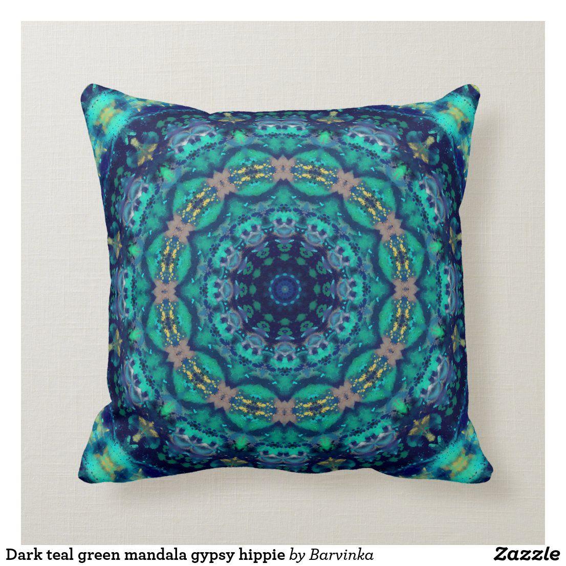 Dark teal green mandala gypsy hippie throw pillow