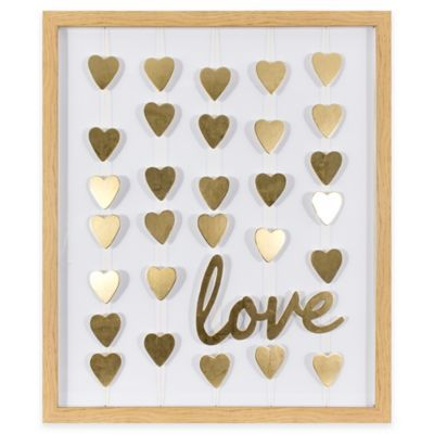 Gold Foil Wall Art gold foil hearts and love framed mobile wall art | walls, gold and