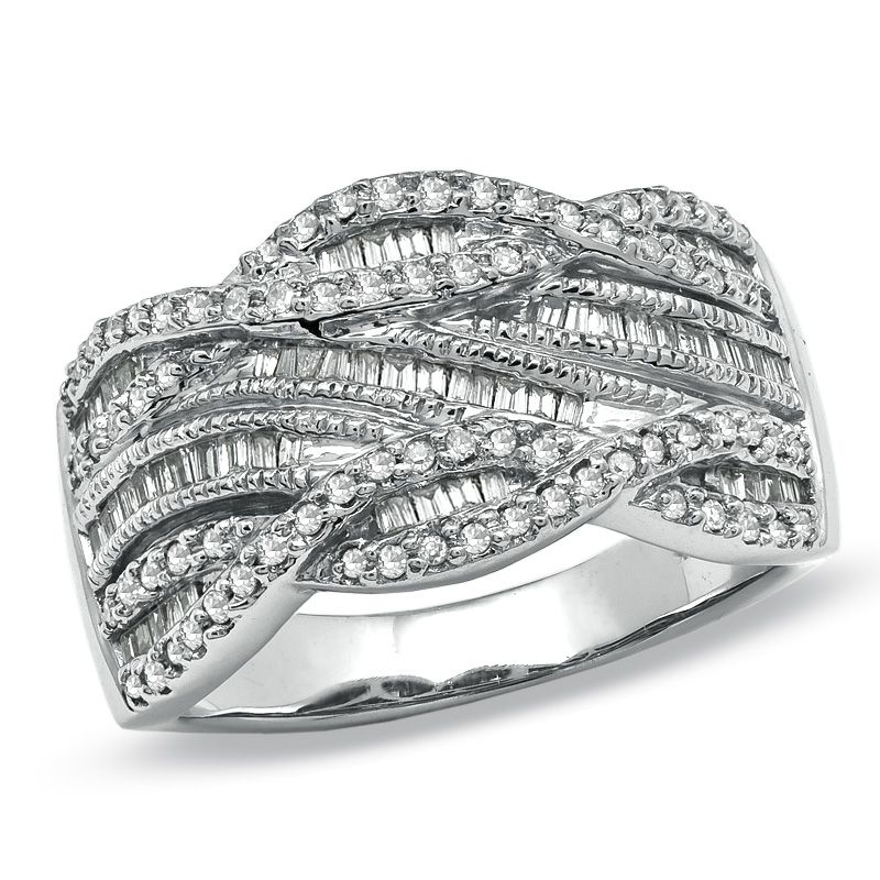 T W Round And Baguette Diamond Swirl Band In 10k White Gold