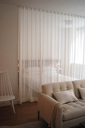 Diy curtain room dividers images for Curtain partition living room
