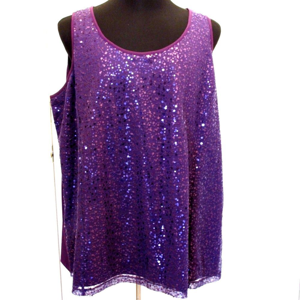 #Catherines #PlusSize #Purple #Shimmery #Sequin #TankTop #Camisole #Shell #Fashion #Apparel #Shop #eBay