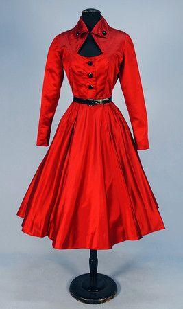 JACQUES FATH for JOSEPH HALPERT SILK COCKTAIL DRESS, 1950's