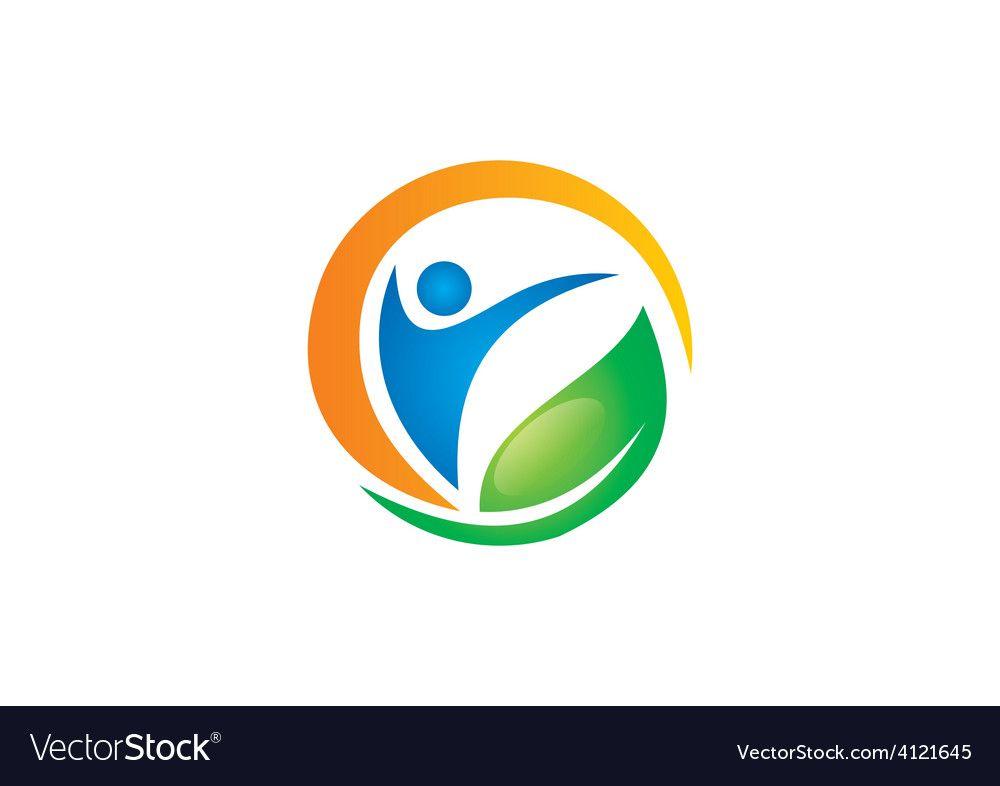 People health fitness spa vegetarian logo Vector Image , #AD, #fitness, #spa, #People, #health #AD