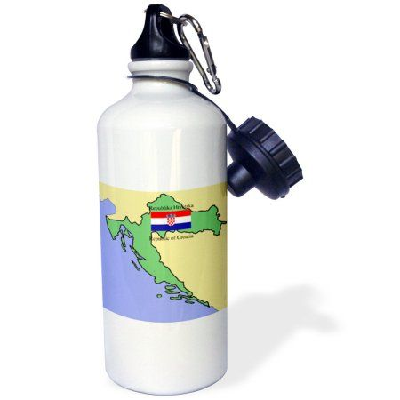 3dRose Map and Flag of Croatia with Republic of Croatia printed in English and Croatian, Sports Water Bottle, 21oz