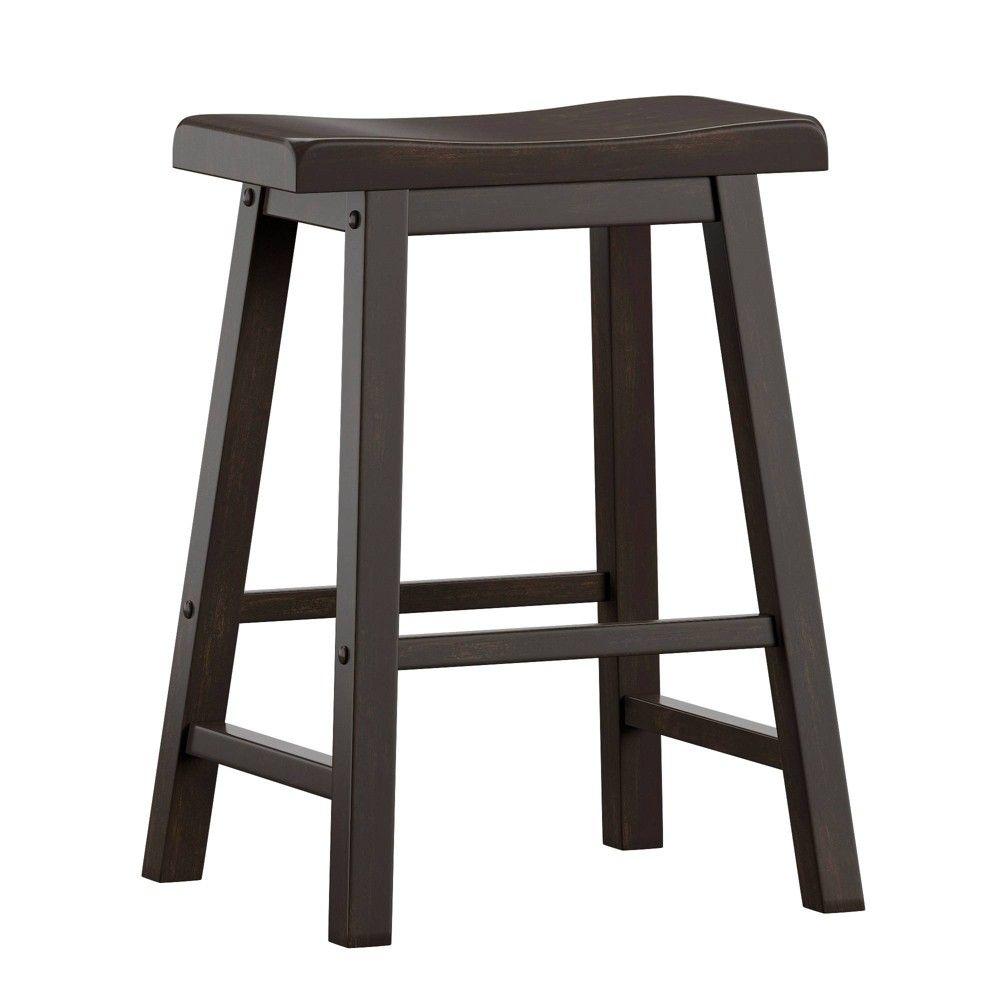 24 Set Of 2 Chimney Hill Saddle Counter Stool Black Inspire Q