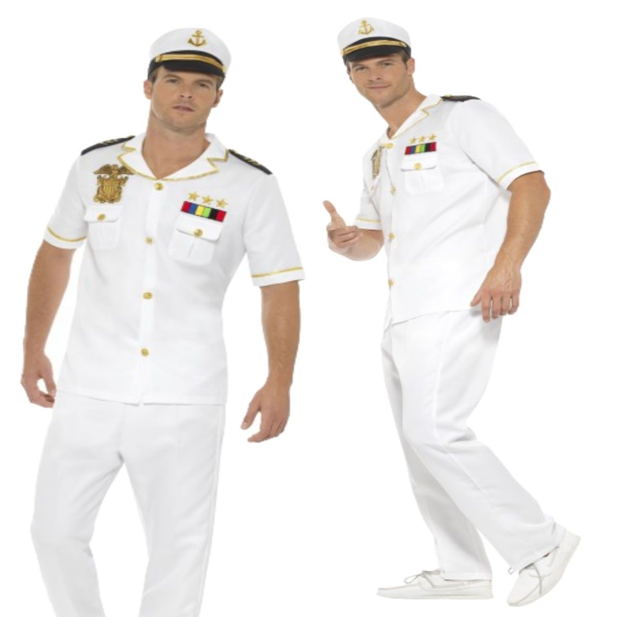 Adult Naval Officer Captain Costume White Mens Fancy Dress Outfit M L