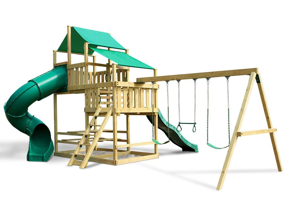 Frontier Fort with Swing Set DIY Kit Outdoor kids play