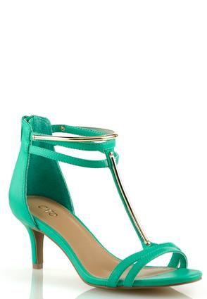 ae2de8d6d Cato Fashions Wide Width Metal Trim T-Strap Heeled Sandals  CatoFashions