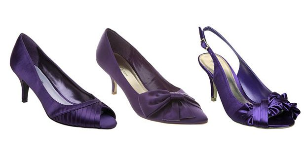 Purple Wedding Shoes Left To Right Pointy Bow Court Pleated P Toe
