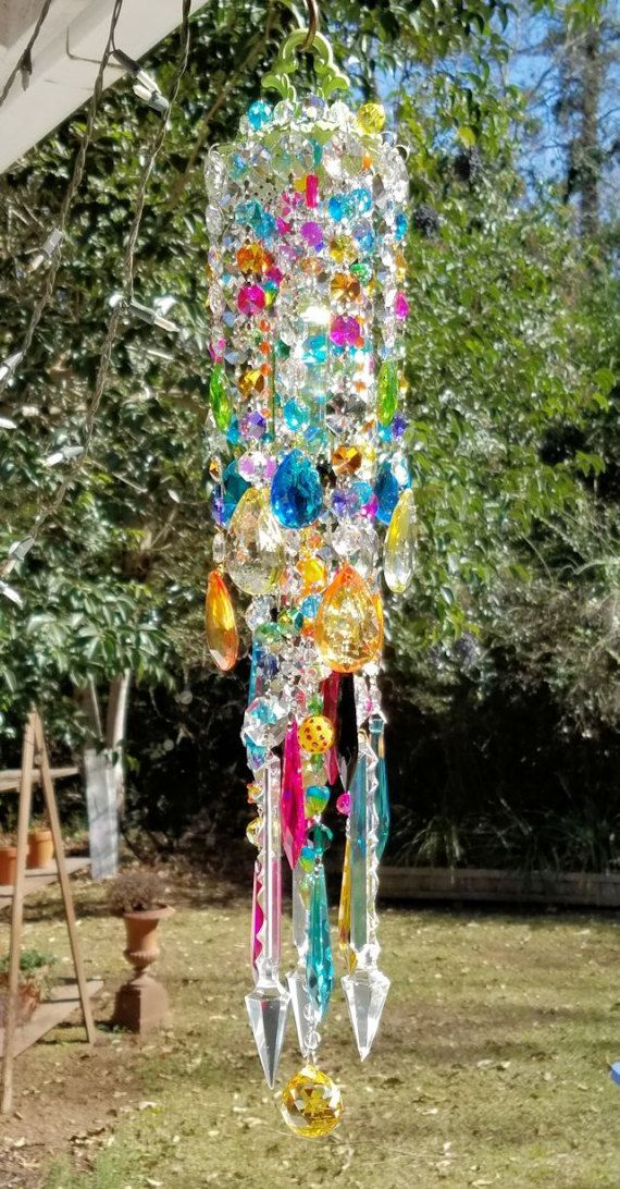 Antique Crystal Wind Chime Multicolored Crystal di sheriscrystals