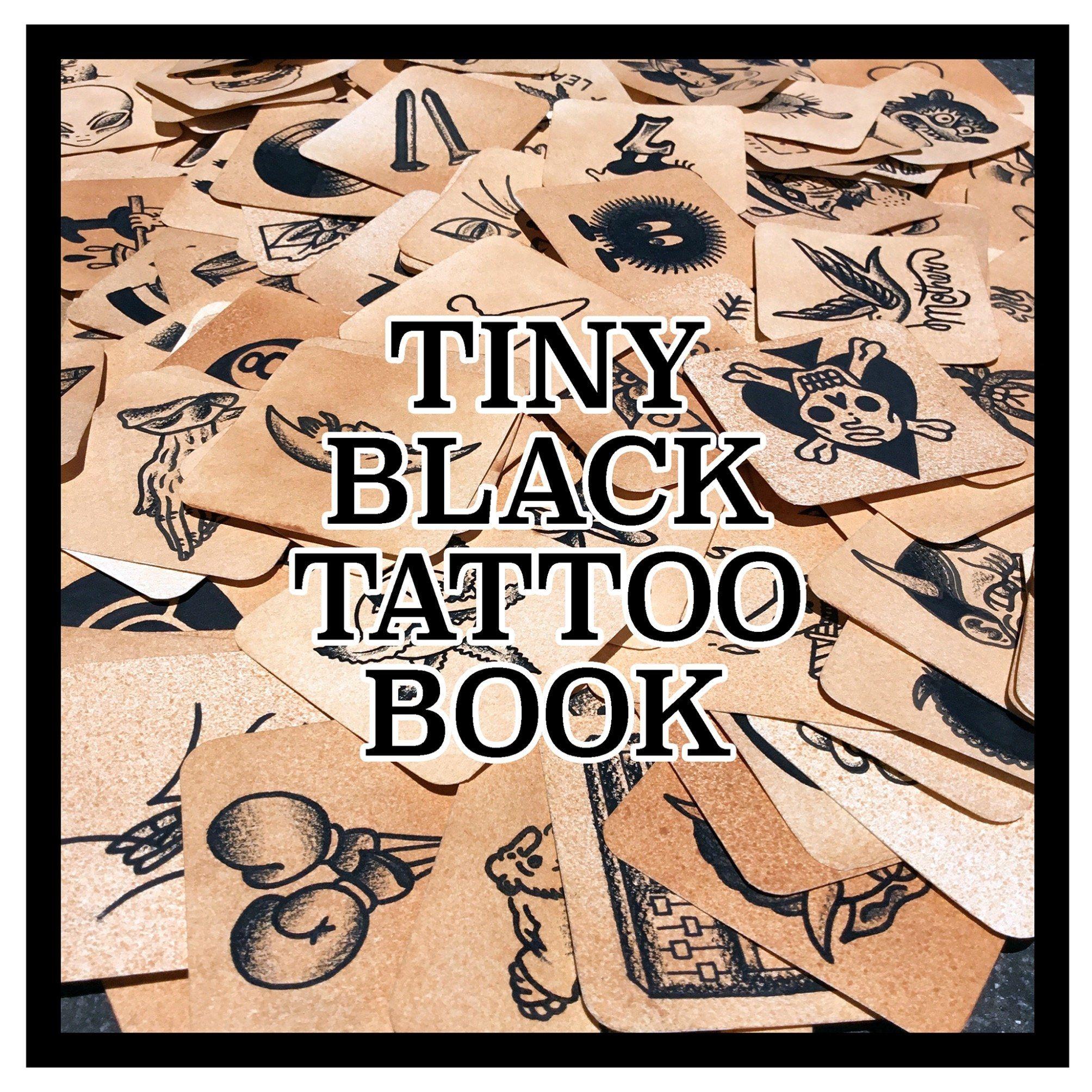 Tiny Black Tattoo Book Black Tattoos Palm Size Tattoos Tattoos