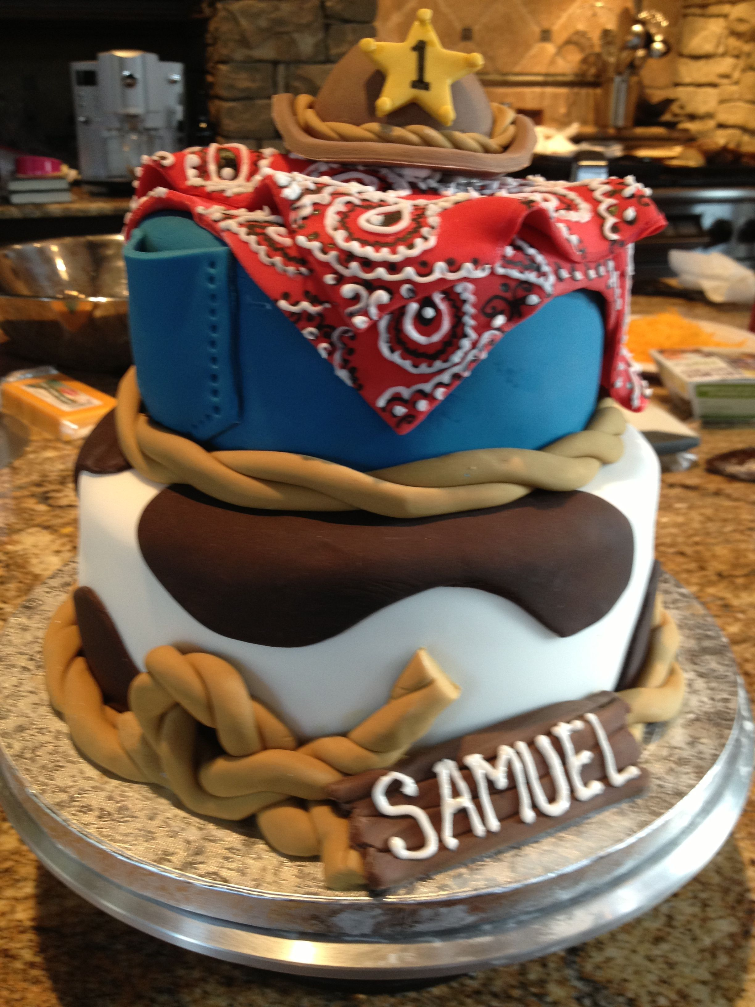 Swell Samuels First Birthday Cowboy Cake With Images Cowboy Funny Birthday Cards Online Inifofree Goldxyz