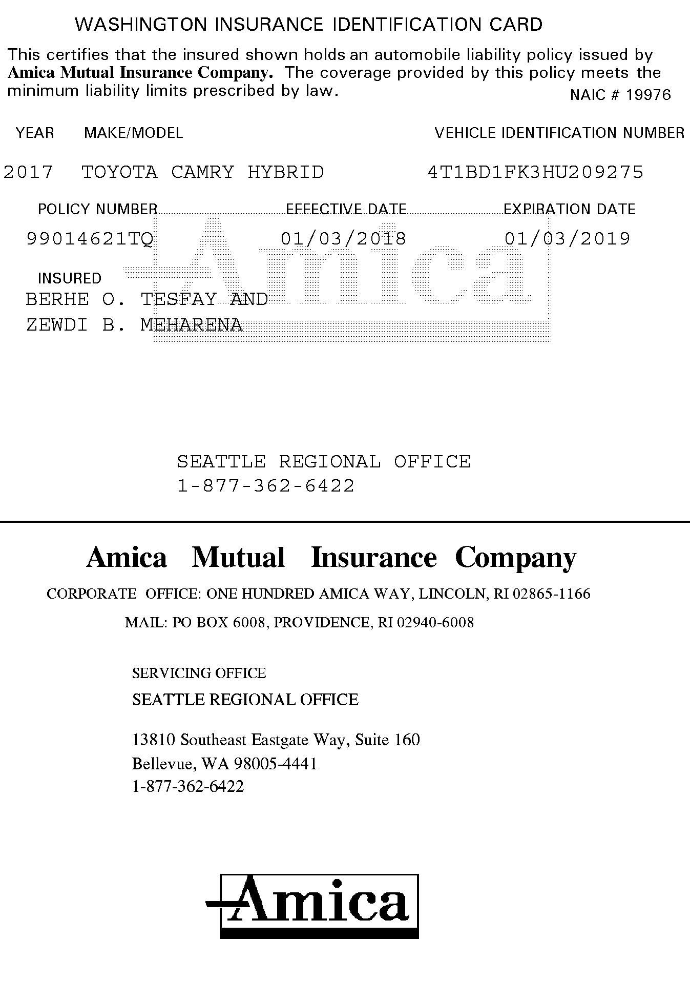 Amica Insurance Insurance Identification Card Confirmation