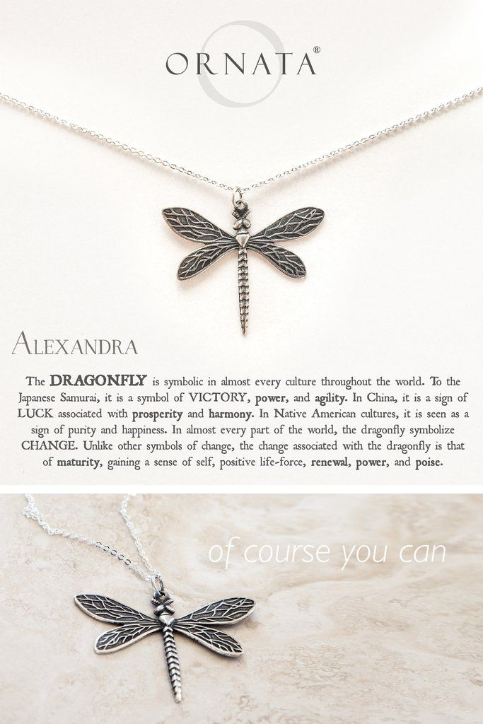 Wisdom Luck Victory Dragonfly Silver Plated Necklace Large