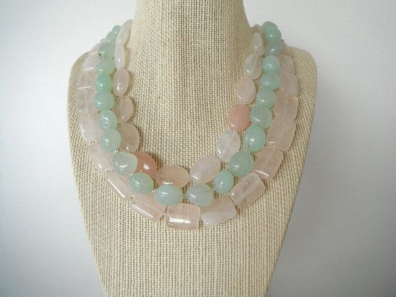 Pink Rose Quartz and Sea Green Stone Triple by SycamoreSticks, $55.00