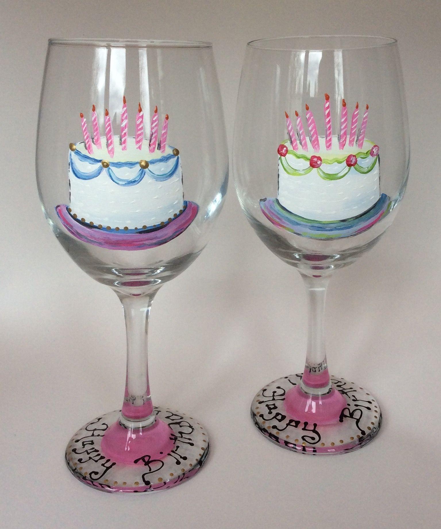 Happy Birthday Cake Wine Glass