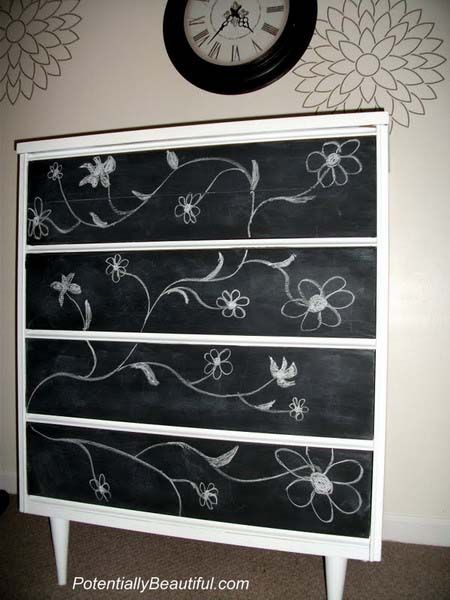 chalkboard dresser great for a teenager with an ever changing style