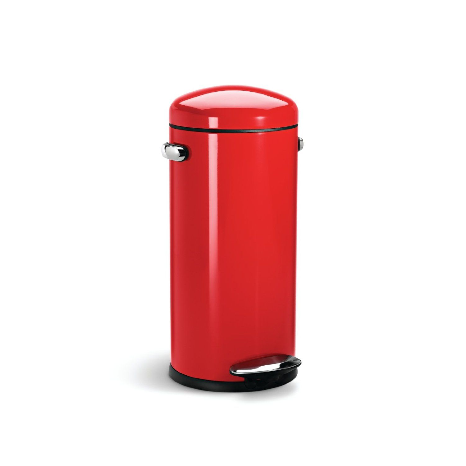 Simplehuman Round Retro Step Trash Can Red Steel 30 Liter 8 Gallon Amazon Com Home Kitchen Trash Can Simplehuman Kitchen Accessories Design