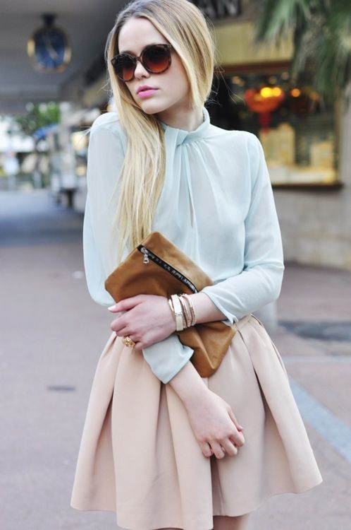 pastel skirt, blouse and sunglasses, great style
