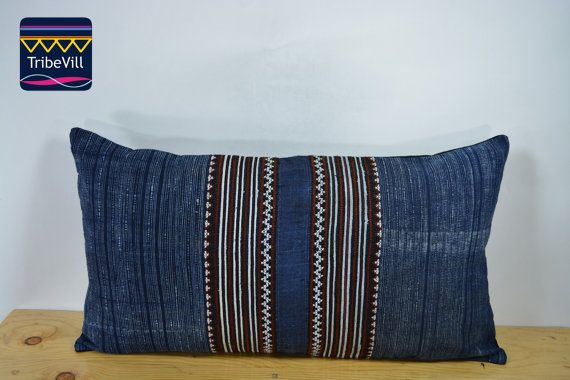 "Vintage Pillow Cover, Hill Tribe Textile Decorative Pillow Handmade Cotton and Hemp Embroidered Eco Friendly 12"" x 22"" HCB0070"