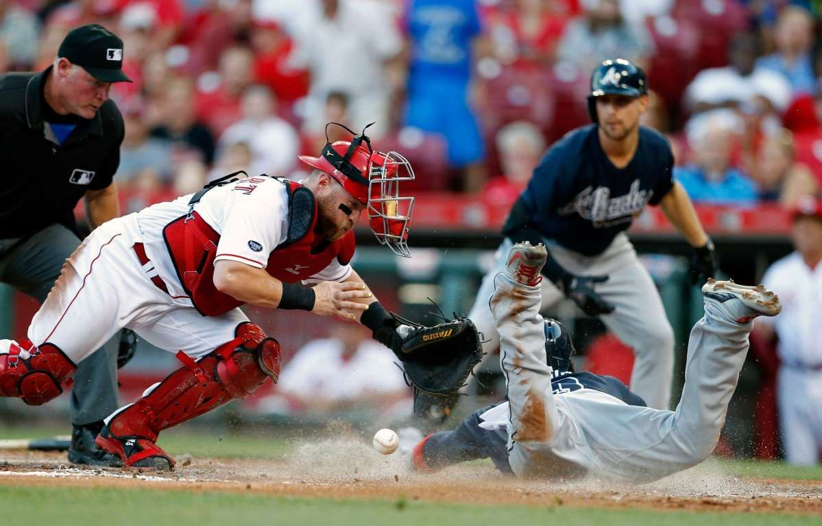Collision At Home Atlanta Braves Adonis Garcia Front Right Scores As Cincinnati Reds Catcher Tucker Barnhart Loses Th Atlanta Braves Braves Cincinnati Reds